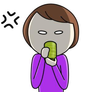 お茶を飲みながら怒る絵